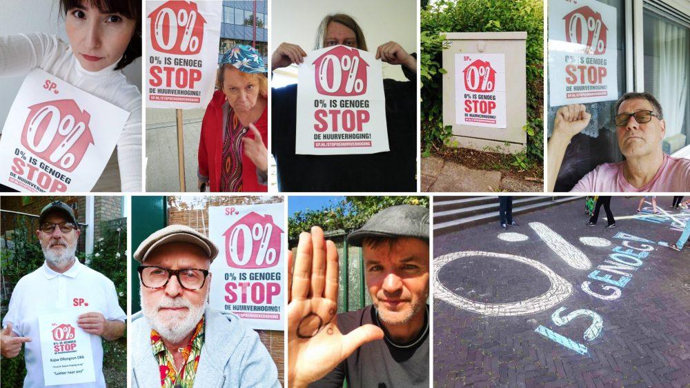 Portretten van SP activisiten die protestborden met daarop 0 procent is genoeg laten zien
